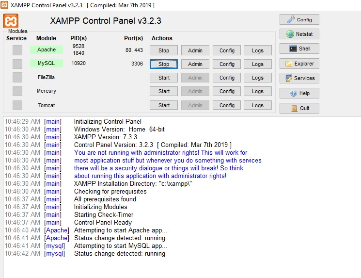 Xampp server for windows