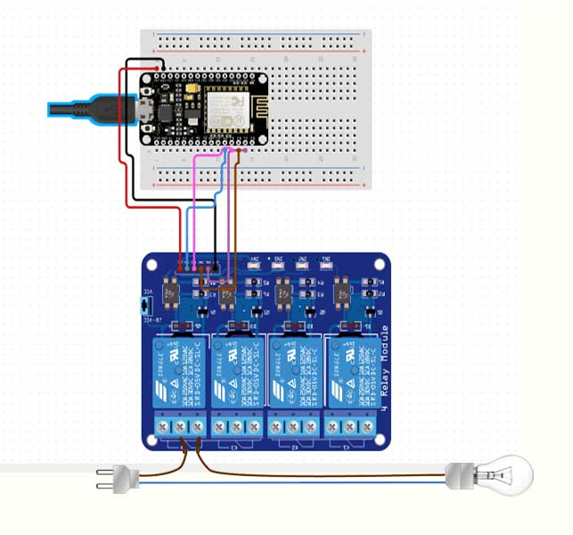 Home Automation With ESP8266 Web Server and 4-Channel Relay